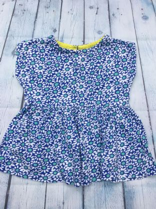 Mini Boden blue and white floral tunic top age 6-7